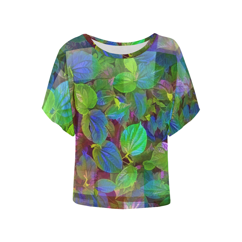 Foliage Patchwork #10   Women's Batwing Sleeved Blouse T-shirt (Model T43)
