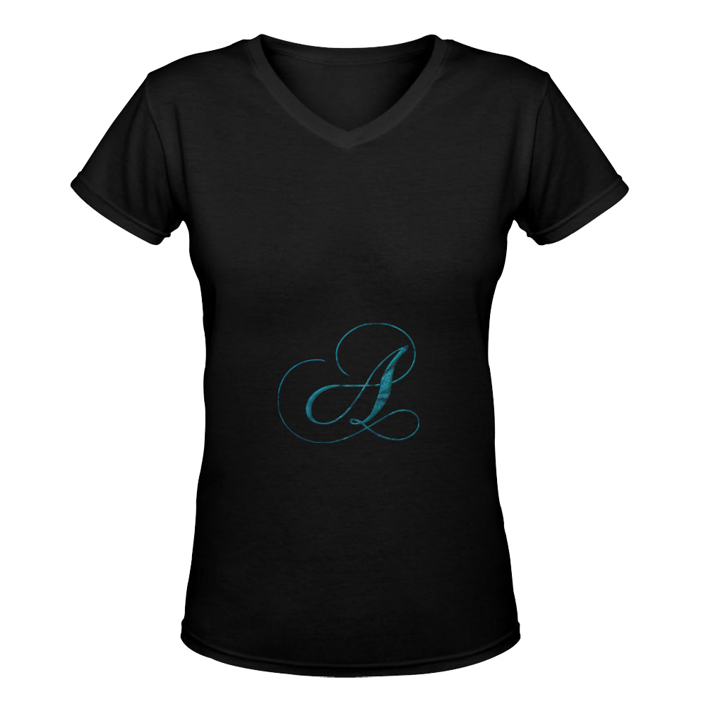 Letter A Blue   Women's Deep V-neck Tshirt (Model T19)