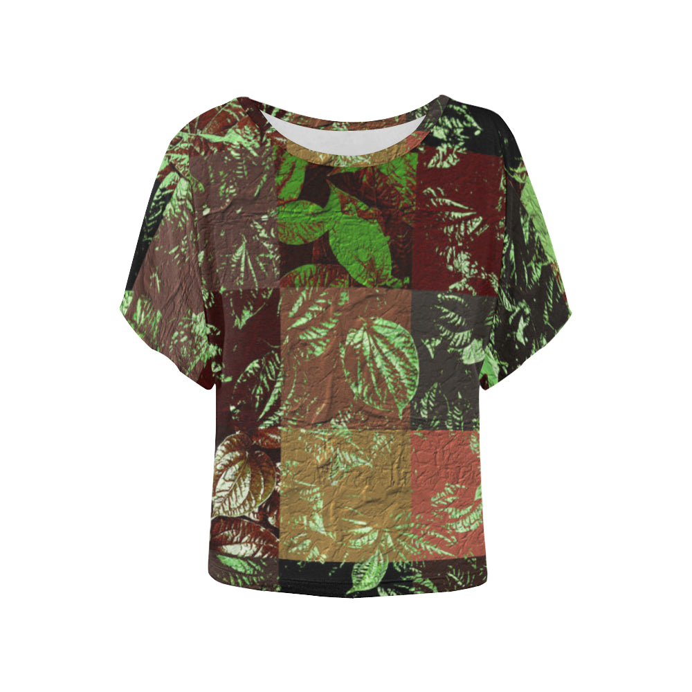 Foliage Patchwork #4   Women's Batwing Sleeved Blouse T-shirt (Model T43)