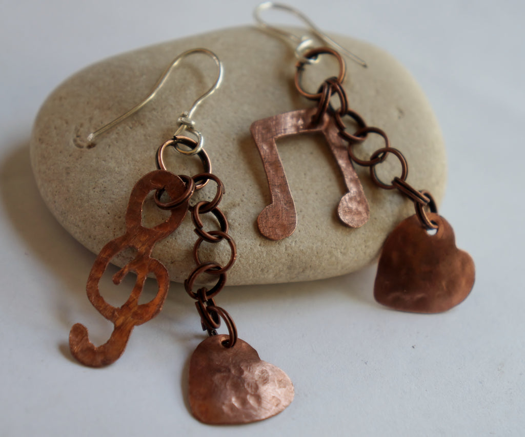 copper and sterling silver music note, heart charm earrings