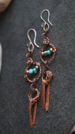 Turquoise and copper wire wrapped earrings