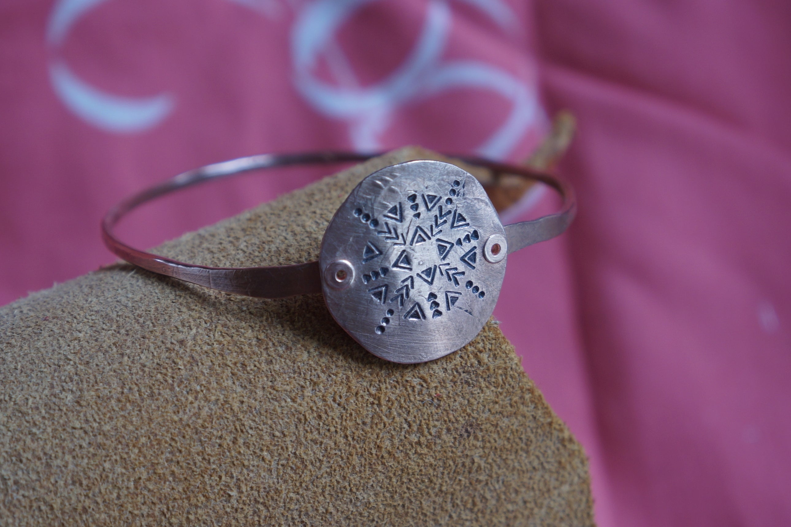 Hammered and stamped copper geometric style design bangle bracelet