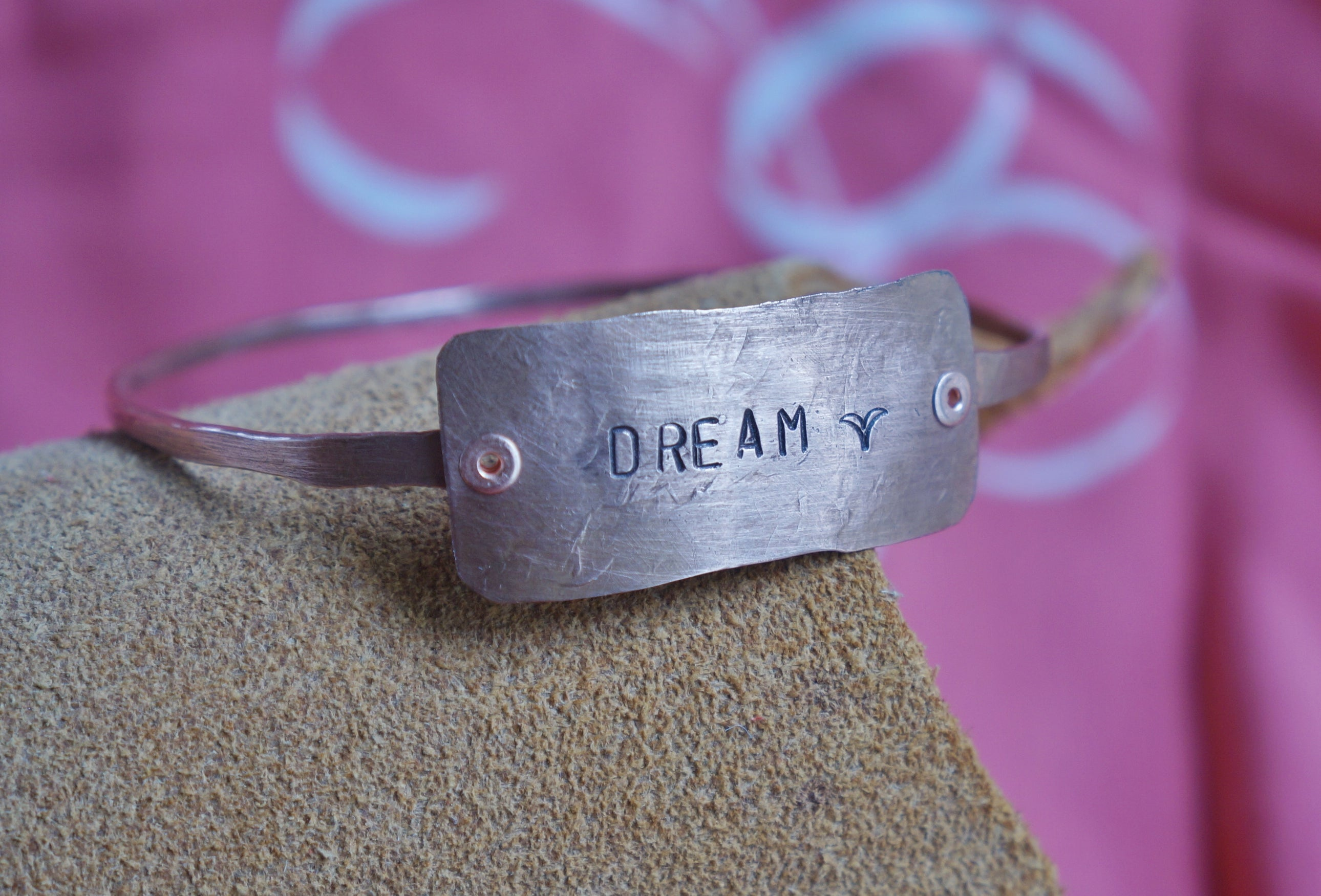 "Hammered and stamped ""Dream"" copper bangle bracelet"
