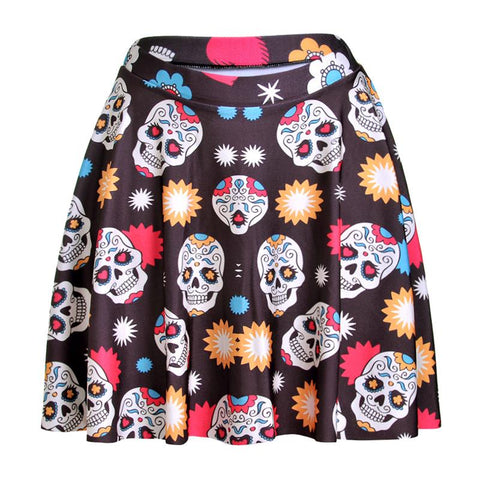 colorful skull women sexy pleated skirts flowers