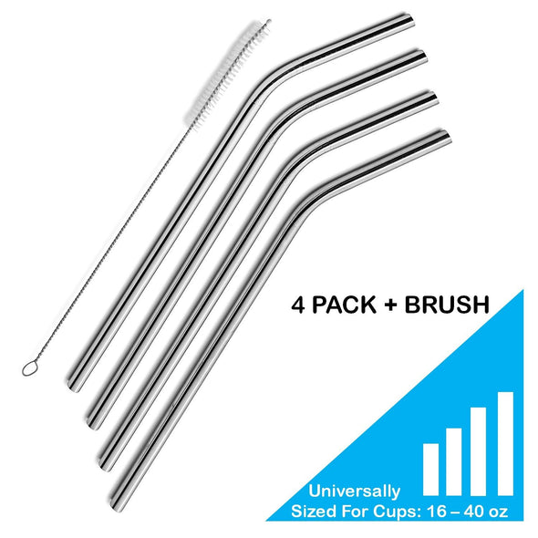 Set of 4 Stainless Steel Drinking Straws, Universally Fits 16 oz - 40 oz Tumblers