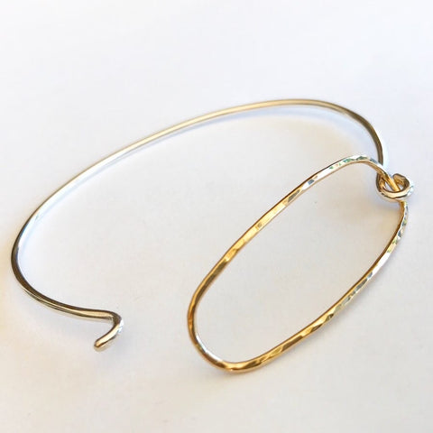 Daily Bread: Sterling Silver Bangle with 14/20 Gold-filled Clasp