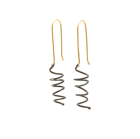 Corkscrews, Large:  Oxidized Sterling Silver & 14/20 Goldfill Earrings