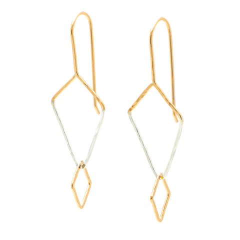 Diamond Dogs: 14/20 Goldfill & Sterling Silver Earrings