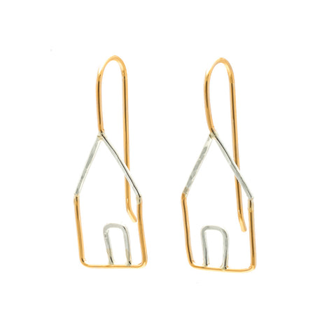 Houses: Sterling Silver and 14/20 Goldfill Earrings
