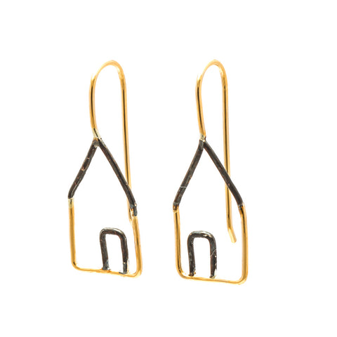 Houses: Oxidized Sterling Silver & 14/20 Goldfill Earrings