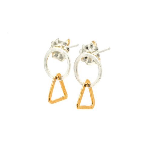 Tiny Circle & Triangle: Sterling Silver & 14/20 Goldfill Earrings