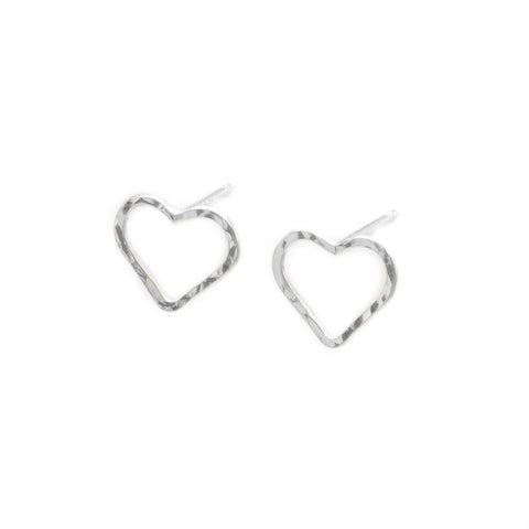 Love: Tiny or Small Sterling Silver Heart Earrings