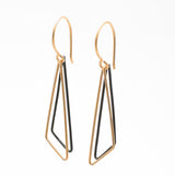 Obtuse Triangles: 14/20 Gold-fill & Oxidized Sterling Silver Earrings