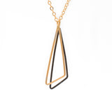 Obtuse Triangle Shadow: 14/20 Gold-fill & Oxidized Sterling Silver Necklace