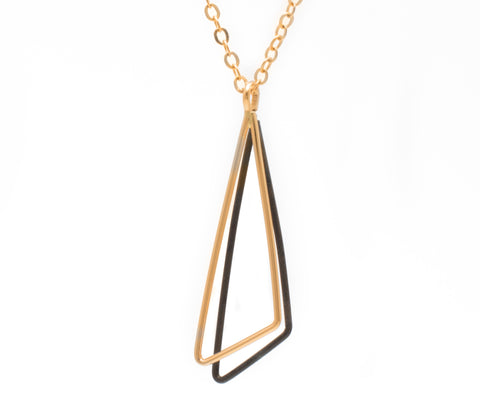 Obtuse Shadow: 14/20 Gold-fill & Oxidized Sterling Silver Necklace