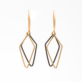 Kite Shadows: 14/20 Gold-fill and Oxidized Sterling Silver Earrings
