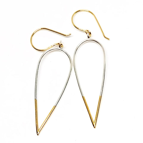 Stingers: Medium or Large, Sterling Silver Earrings with Vermeil points/earwires