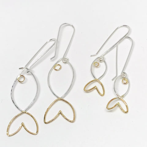 Hooked: Big Fish and Minnow Sizes, Sterling Silver & 14/20 Gold-filled Earrings