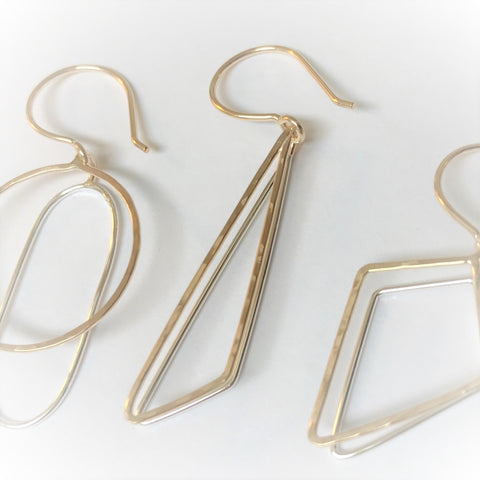 Obtuse Reflections: 14/20 Gold-fill & Bright Sterling Silver Earrings