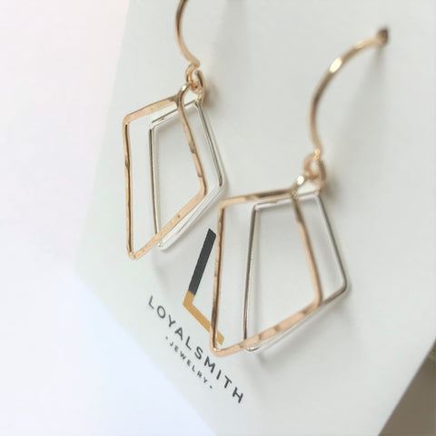 Kite Reflections: 14/20 Gold-fill and Brights Sterling Silver Earrings