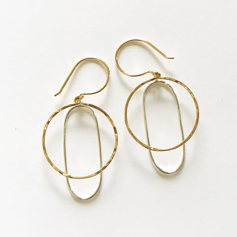 Long Reflections: Bright Sterling Silver & 14/20 Goldfill earrings