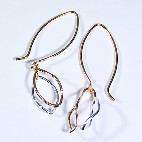 Spring Leaves: 14/20 Gold-filled and Sterling Silver Earrings