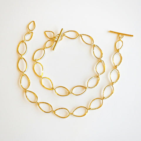 "Leafy Bracelet: 14K Vermeil Bracelet with toggle in 7"" or 7 5/8"""