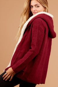 The Sherpa Hoodie in Burgundy