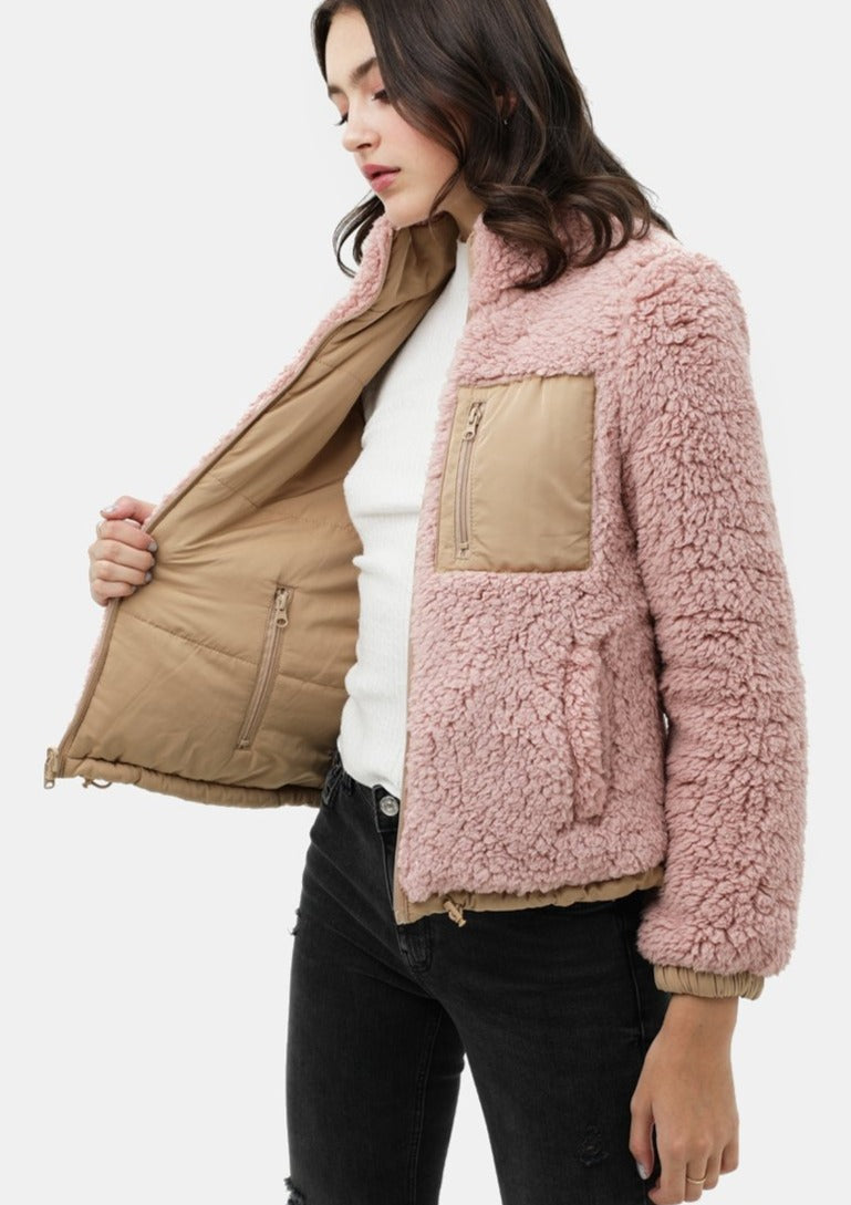 The Reversible Sherpa Bomber in Blush