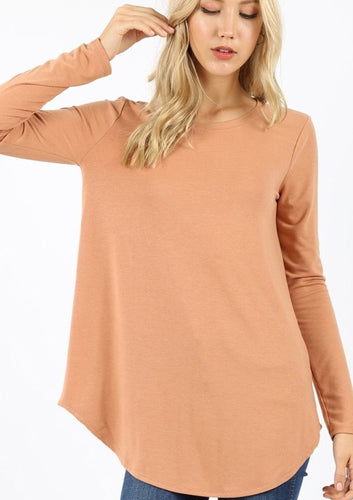 The Basic Round Hem Top in Camel
