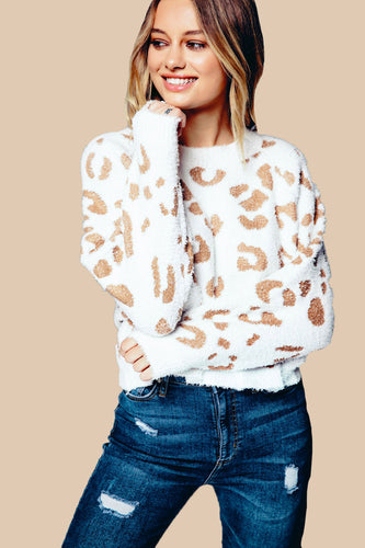 The Cuddly Leopard Pullover in White