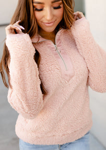 Ampersand Ave Sherpa Pullover in Dusty Pink