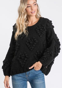 The Knitted Heart Pullover in Black