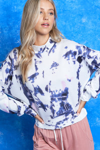The Tie Dye Mock Neck in White
