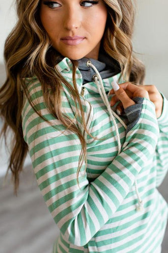 Ampersand Ave DoubleHood Sweatshirt // Mint Stripe