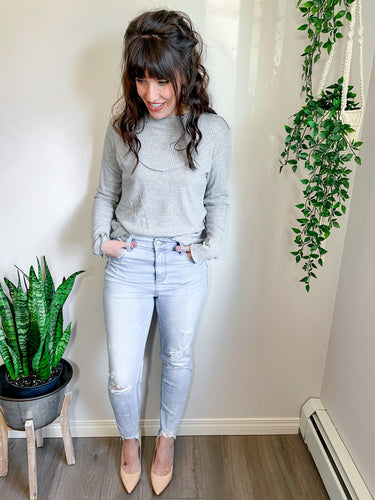 The Lily Top in Heather Grey