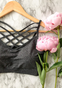 The Sporty Spice Bralette in Charcoal