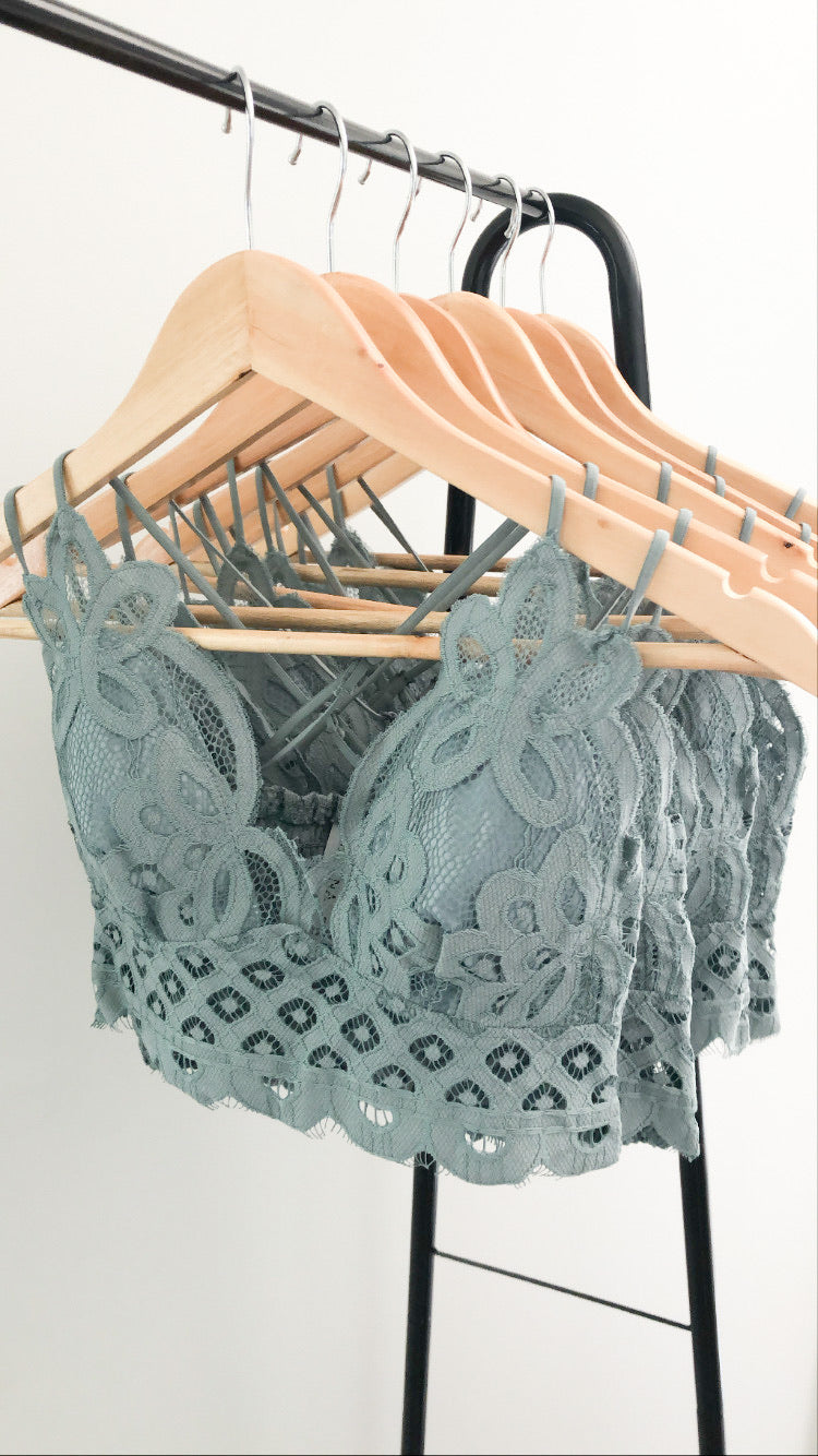 The Lacey Bralette in Grey-Teal