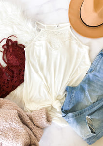 The Basic Lace Tank in White