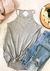 The Basic Lace Tank in Grey