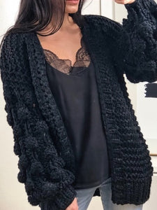 The Knitted Chunky Cardi in Black