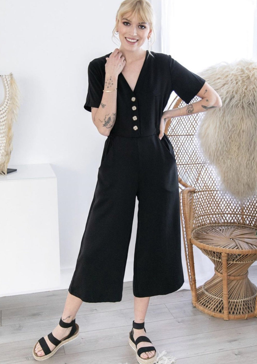 Smash + Tess // The Jane Romper in Barely Black