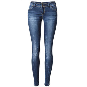 women skinny Jeans  pants  Women low waist  Elasticity Pencil jeans ladies cuffs  denim pants Ripped Jeans For Women