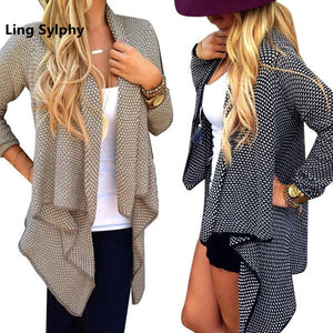 Ling Sylphy 2017 Top Seller Fashion Women Sweater Round Dot Knit Irregular Cardigan Jacket Khaki Black Ladies Coat