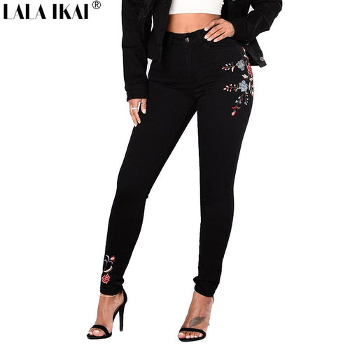 LALA IKAI Women Denim Pants Plus Size Embroidery Floral Printed Skinny Jeans Females Black Pencil High Waist Trousers KWA0248-45