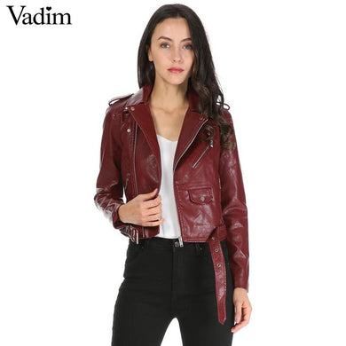 women leather short motorcycle jacket with zipper