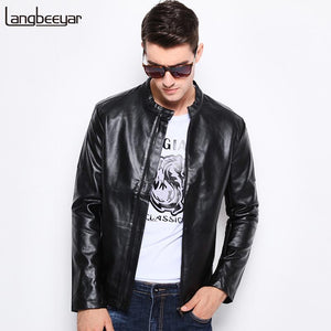 2017 New Fashion Brand Winter Leather Jacket Men Stand Collar Motorcycle M-5XL