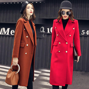 2017 winter solid color double-breasted fashion trend long straight wool jacket