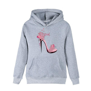 New Autumn High Heels Print Harajuku Women Sweatshirt