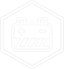 A white on grey icon of a battery